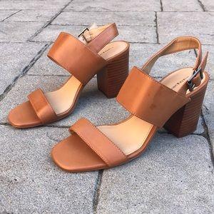 14th & Union Chestnut Strappy Block Heel Sandals